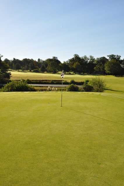 The immaculatley manicured 10th green on the West Course at East Sussex National.
