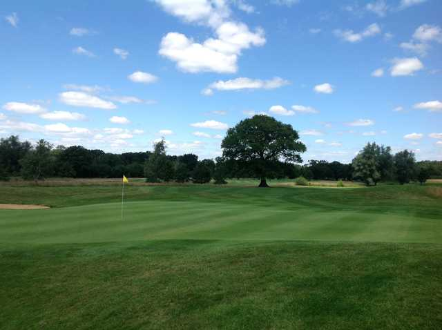 The 18th green at Merrist Wood Golf Club