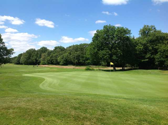 A view of the beautiful 9th green at Merrist Wood Golf Club