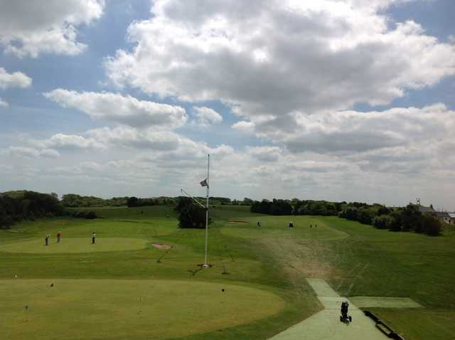 The view from the clubhouse overlooking the Knott End Golf Course