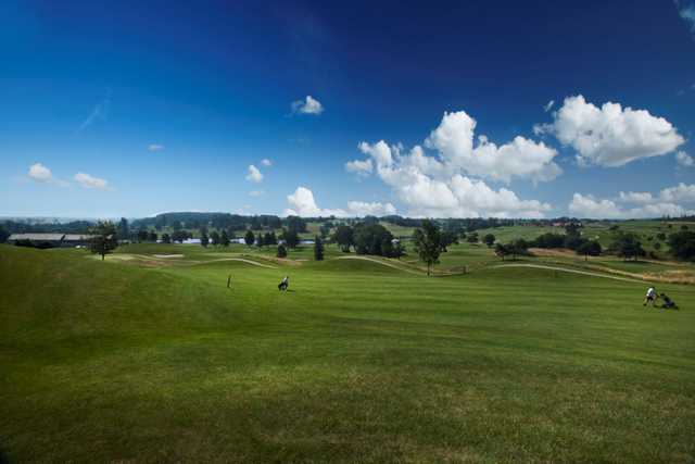 Picturesque view of the hilly 3rd fairway on the Kings Course at The Warwickshire Golf Club