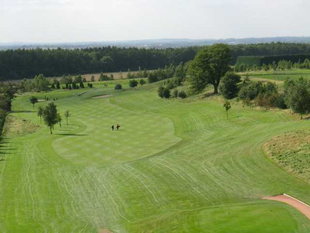 An aerial view of the course showing the tee to the pin