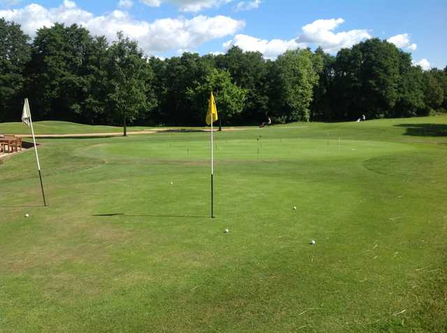The practice green at Milford