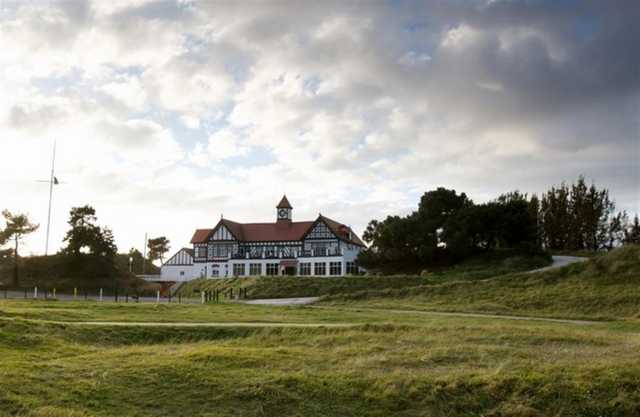 The 16th hole and stunning clubhouse at Hesketh Golf Club