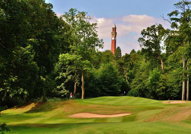 1st green with clock tower in view at Edgbaston Golf Club