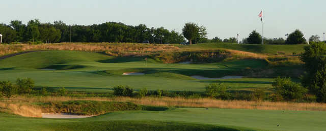 View of a bunkered green at Neshanic Valley Golf Course