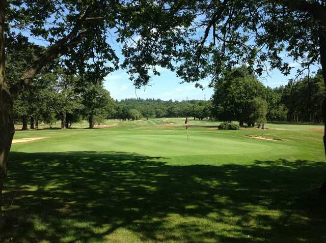 View of the challenging 18th hole at Leatherhead Golf Club