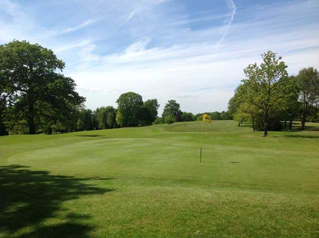 A greenside view of the 4th hole at Shaw Hill Golf Club