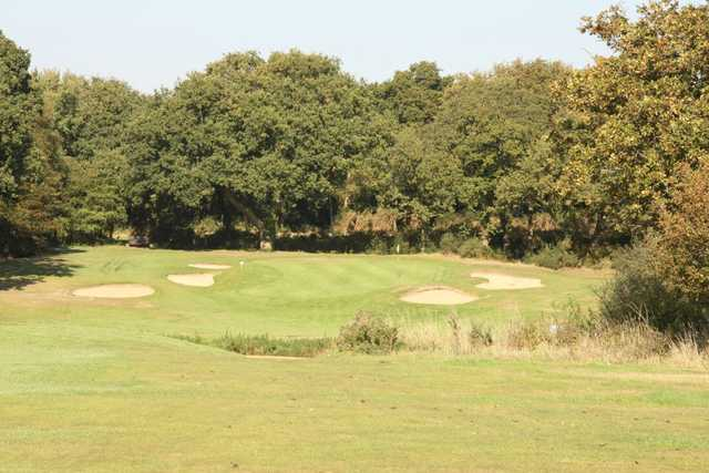 Bunkers protect the green of the signature 13th at Lee-on-the-Solent Golf Club