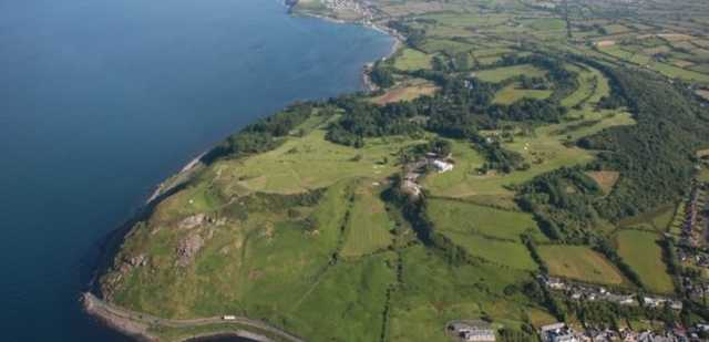 An overhead shot of the Cairndhu Golf Course