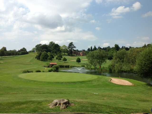 Beautiful view of the 8th and 16th greens and the pond at The Welcombe Golf Club