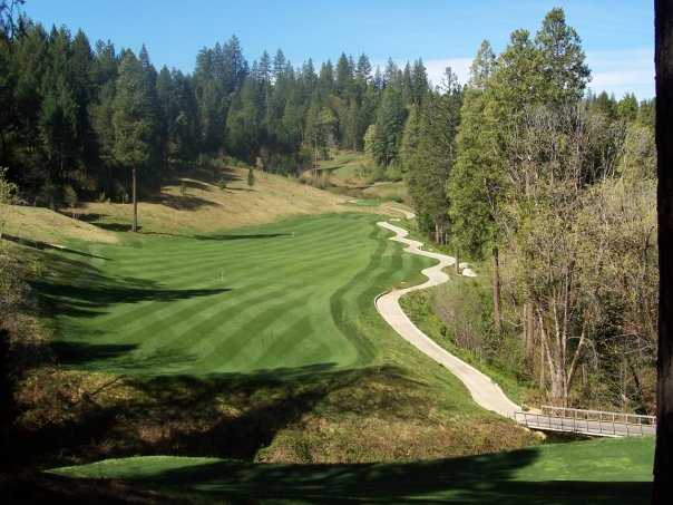 A view back from the 18th green at Apple Mountain Golf Resort