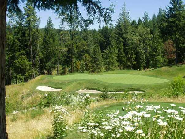 A view of the 17th hole at Apple Mountain Golf Resort