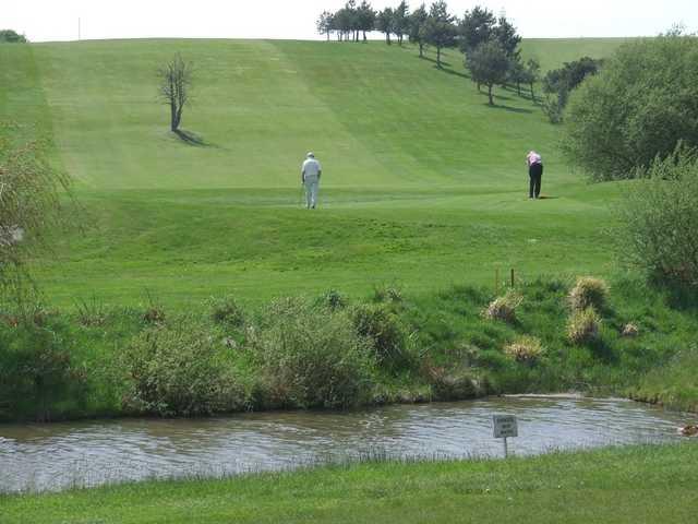 Putting on the 14th green at Wareham Golf Club