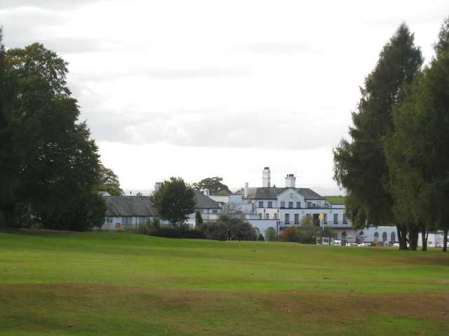 A view of the 4th hole with the hotel in the background at Hawkstone Park Golf Centre