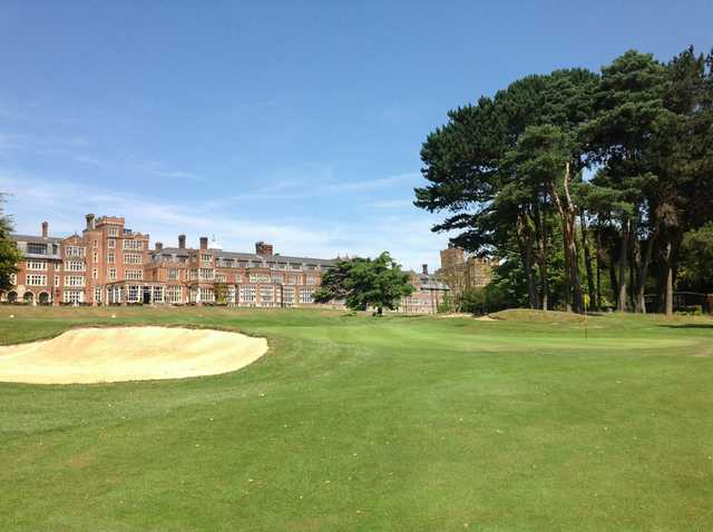 View of the 18th green and stunning hotel at Selsdon Park Golf Club