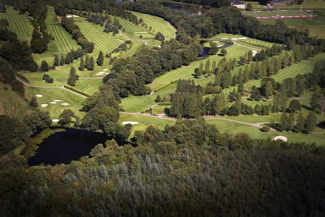 An aerial view of the Lakes Course at the Vale Resort