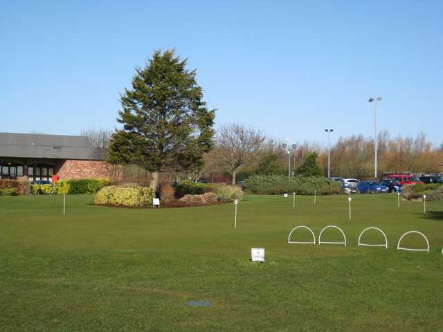 The putting green and carpark at Herons' Reach Golf Resort