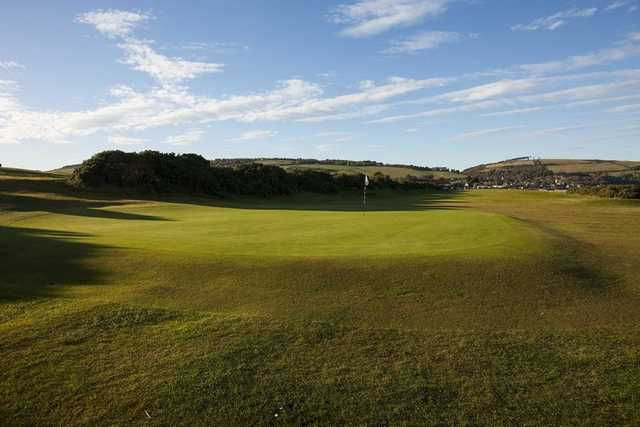 The sloping 1st hole known as 'Fort George' at Fortrose and Rosemarkie Golf Club