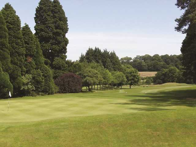 A great view down from the clubhouse to the 18th fairway at Donnington Valley, Berkshire