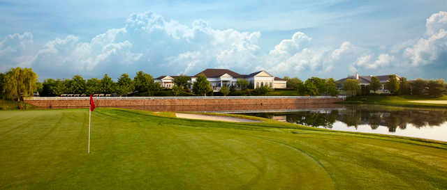 View of the clubhouse from a green at Willow Creek Golf and Country Club