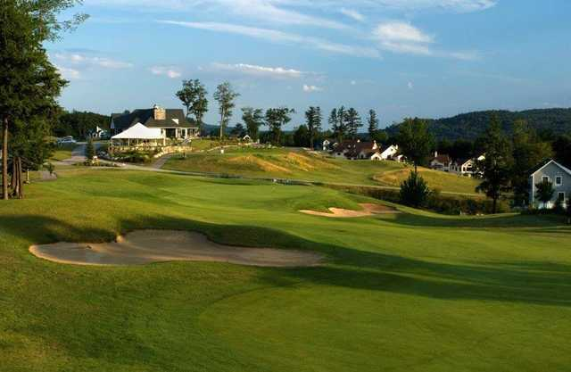 A view of a well defended green at Owl's Nest Golf Club