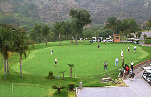 A view of the practice area at Green River Golf Club