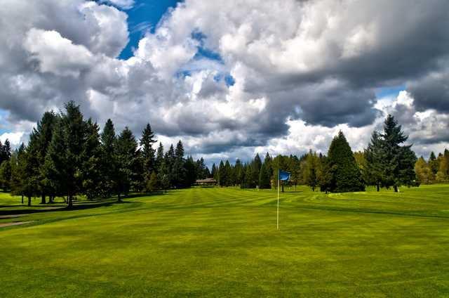 Looking back from a green at The Cedars on Salmon Creek