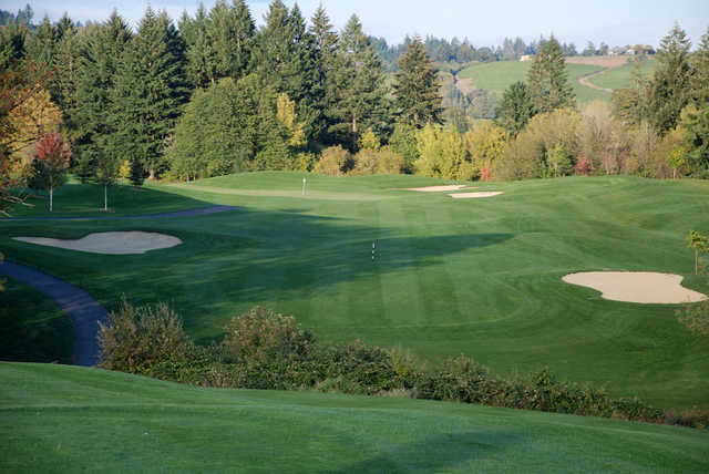 View of the 1st green at Chehalem Glenn Golf Club