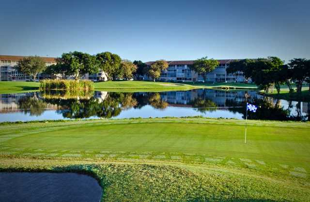 Water come into play on several holes at Flamingo Lakes Country Club