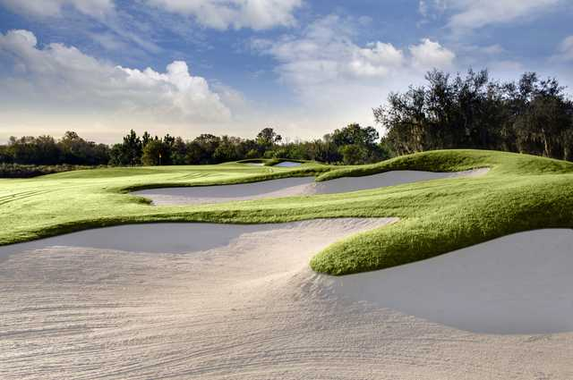 A view of a bunkered green at The Club Renaissance