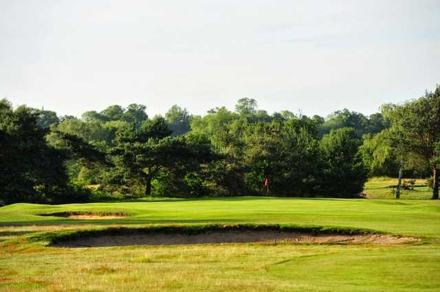 View of a green and bunkers at Bungay & Waveney Golf Club