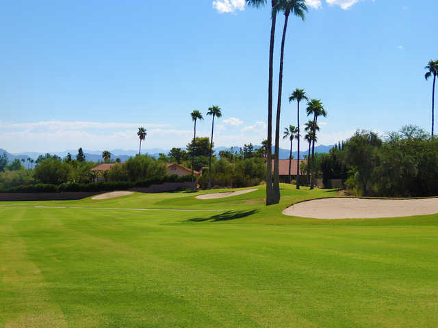 View of the finishing hole at Desert Canyon Golf Club