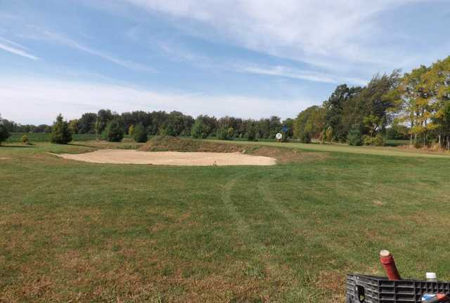 View of the 12th green and bunker from the North Course at Tri-Way Golf Club
