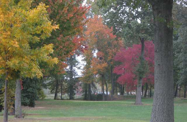 Fall view of a green from the South Course at Tri-Way Golf Club