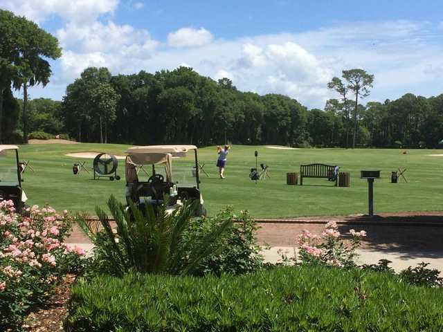 A view of the driving range at Colleton River Club.
