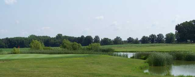 A view of green #5 protected by a pond at Moweaqua Golf Course