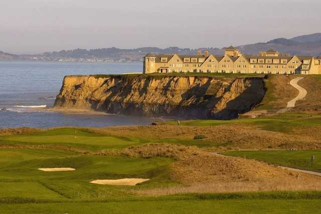 A view of the 17th green at Ocean Course from Half Moon Bay Golf Links