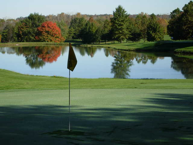 A view of a green with water coming into play at Walnut Creek from Walnut Creek Golf Course