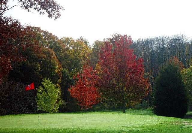 A view of the 5th green at Hoosier Hills Golf Course