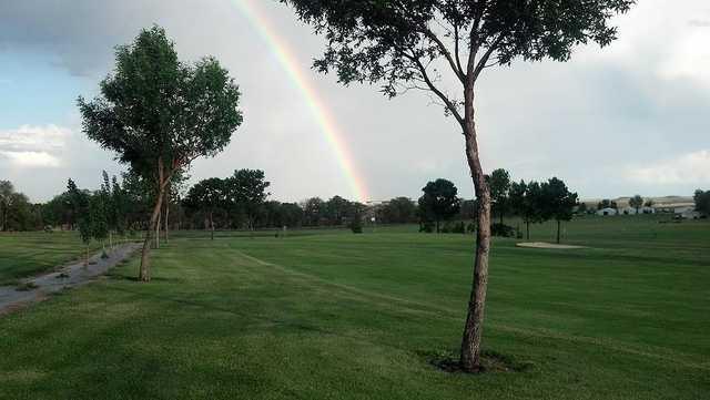 A rainbow over Fox Hills Golf & Country Club