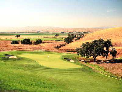 A view of the 14th green at San Juan Oaks Golf Club