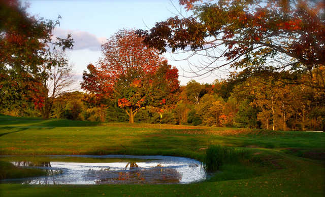 A colored fall view of a hole at Marion Elks Country Club