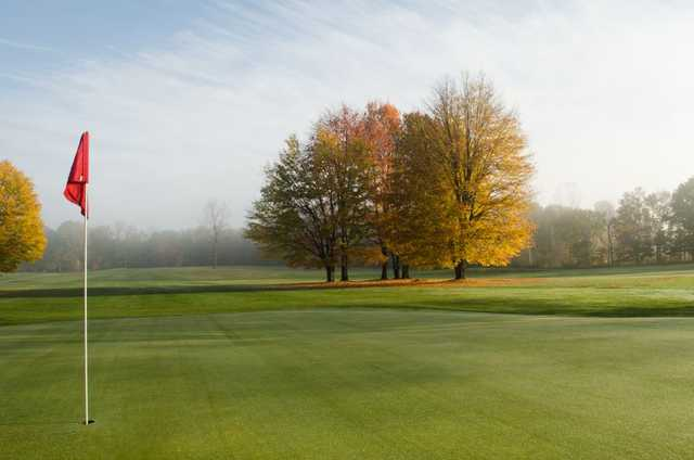 A fall view of a hole at Woodbury Golf Course