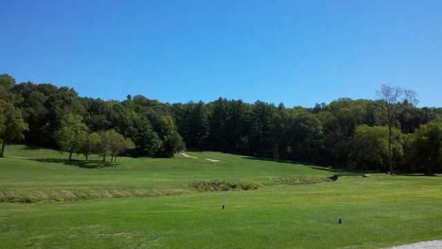 A view of a tee at Pine Woods Golf Course