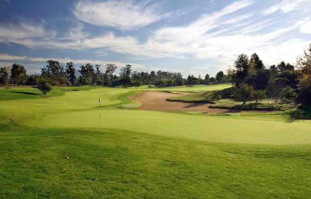 A view of a green at Oak Creek Golf Club.