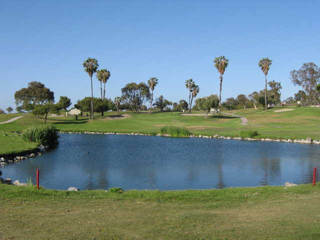 A view of the 8th hole accross the lake on green #5