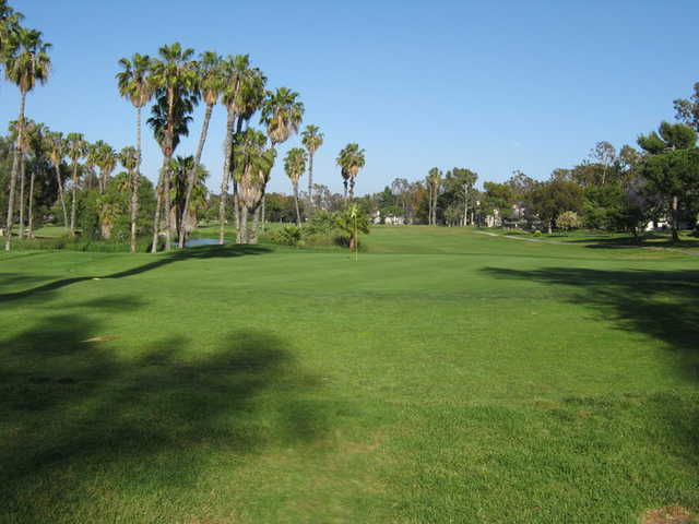 A view from behind the 12th green at Rancho San Joaquin Golf Course