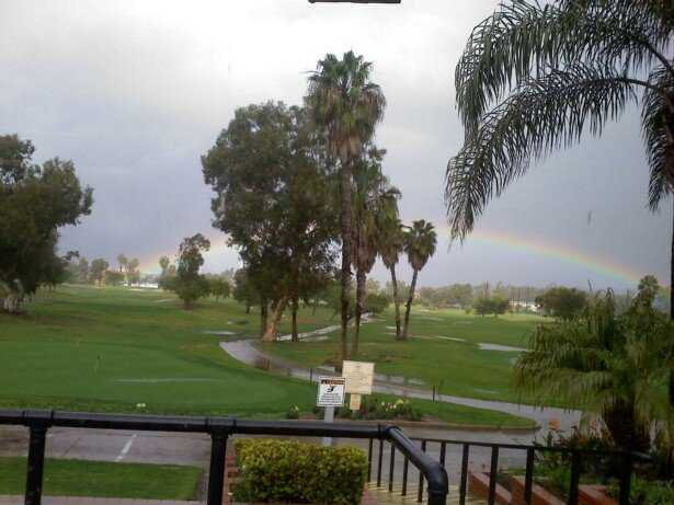 A rainy day view from Rancho San Joaquin Golf Course