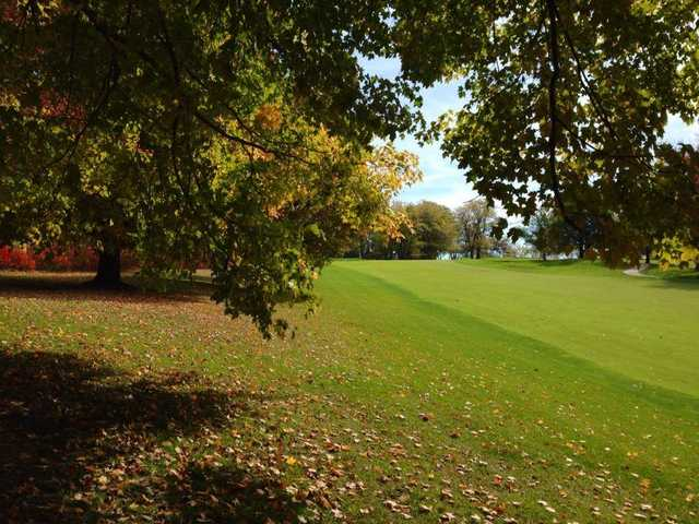 A fall view of a fairway at Finkbine Golf Course